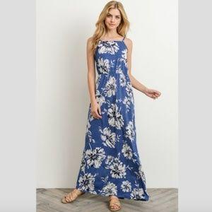 GILLI Bold Floral Blue Strappy Maxi Dress NWT L
